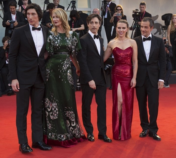 Laura Dern, Adam Driver, Scarlett Johansson, David Heyman, and Noah Baumbach at the premiere screening of Marriage Story