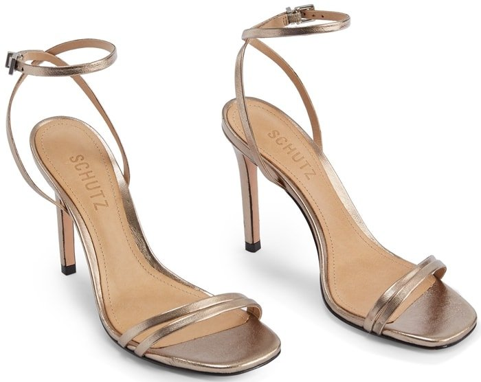 Effortlessly elegant, this barely-there metallic leather sandal is a chic go-to for many looks