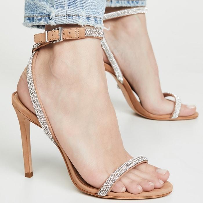 Honey Beige Crystal Schutz Mulan Embellished Leather Sandals