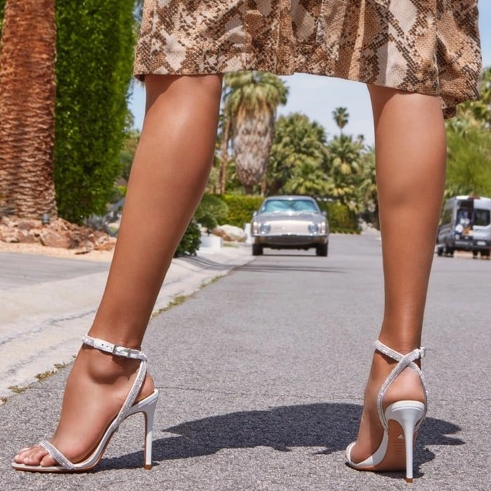 Stunning white crystal-embellished sandals from Schutz Shoes