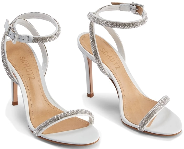 White Mulan Embellished Leather Sandals