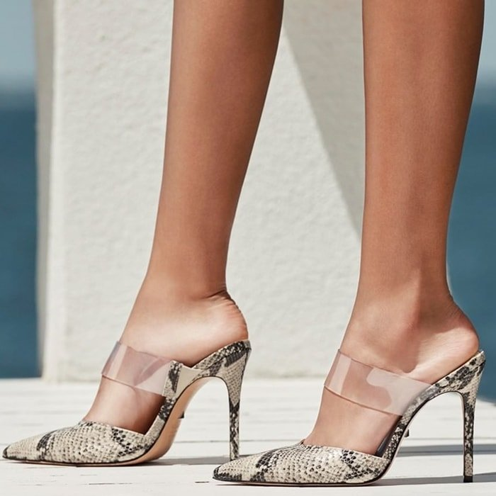 Snake-Embossed Sionne Clear Strap
