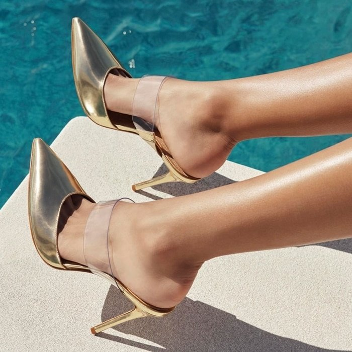Gold Metallic Sionne Clear Strap Pointed Toe Mules
