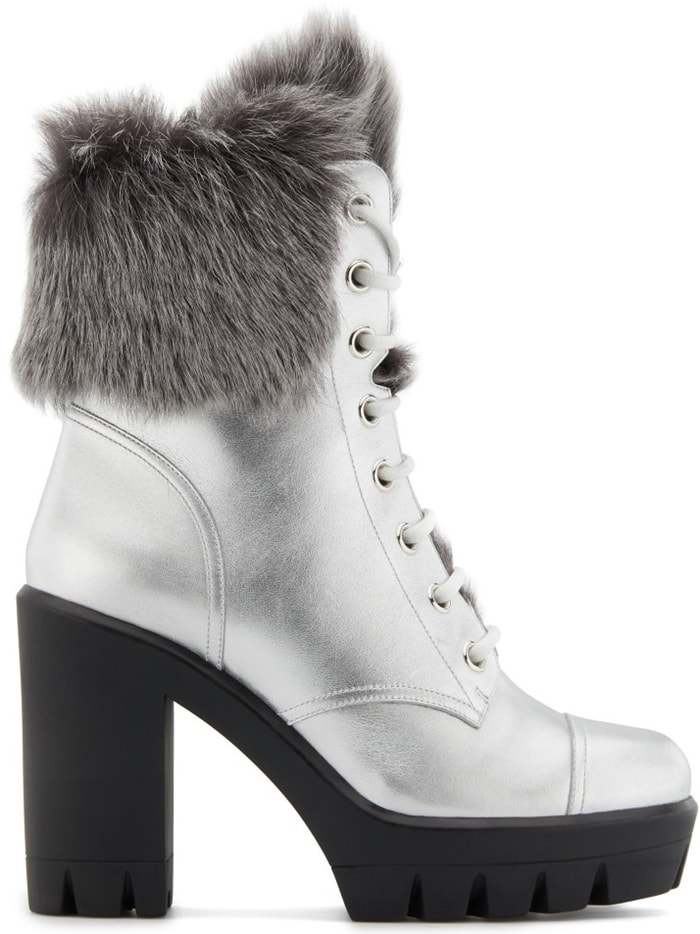 These high-heel, laminated silver calfskin leather, high-heel lace-up ankle boots feature shearling inner lining and a 30mm plateau