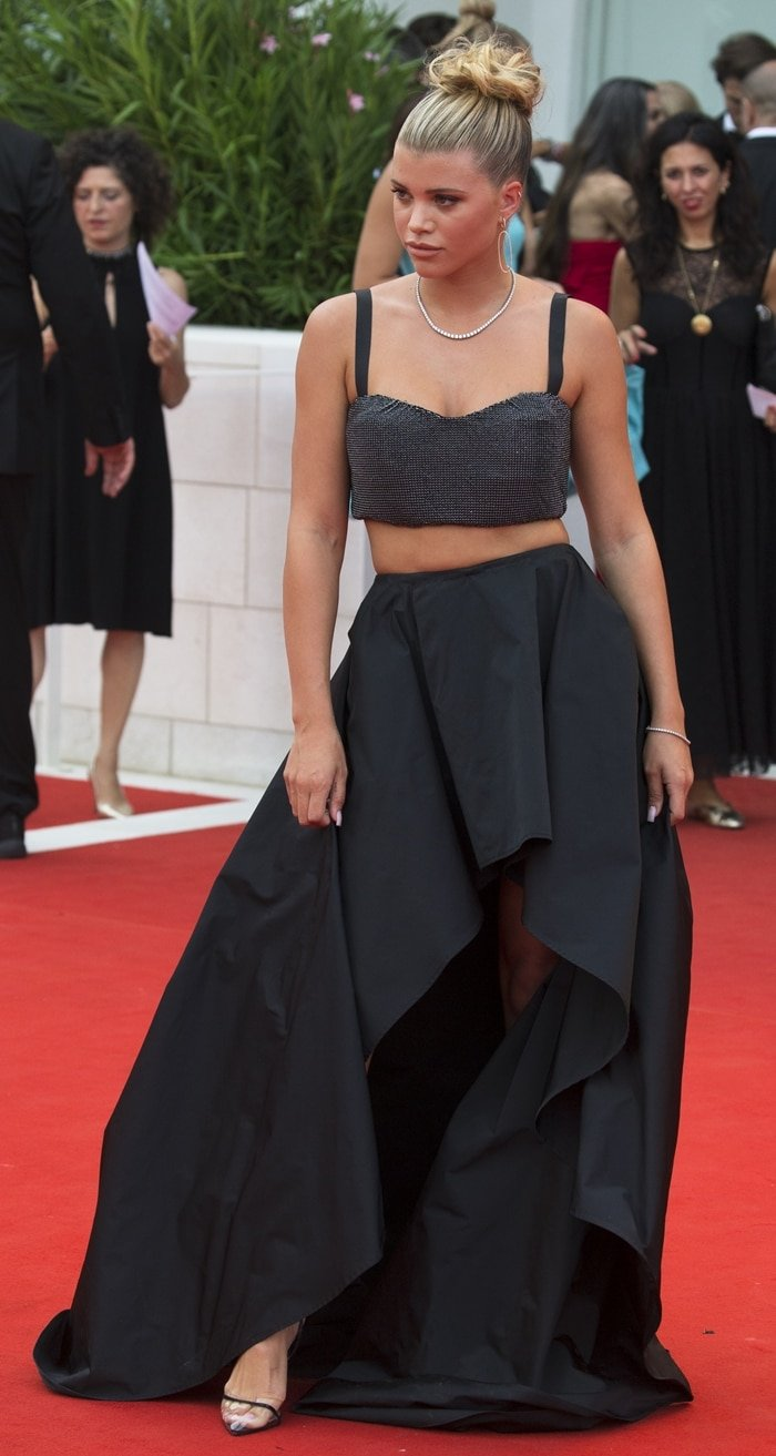 Sofia Richie wearing a Twinset ensemble at the 76th Venice Film Festival Opening Ceremony