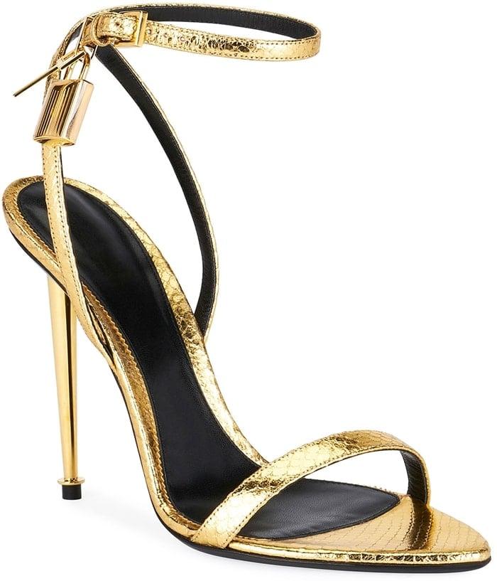 Gold Laminated Printed Python Sandals