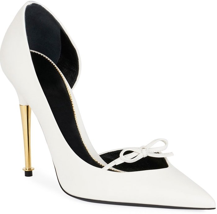 White Leather Pumps With Bow