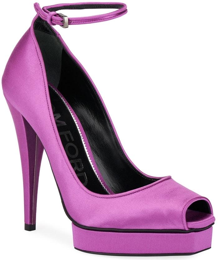 Purple Satin Platform Peep-Toe Ankle Pumps