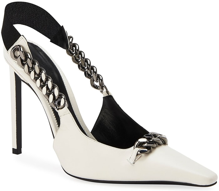 White TOM FORD Pointed Slingback Pumps with Chain