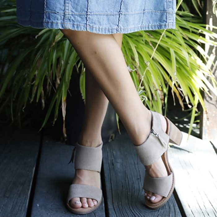 Stroll along seaside streets in this adventurous heeled Majorca cutout sandal from TOMS inspired by the Spanish Mediterranean