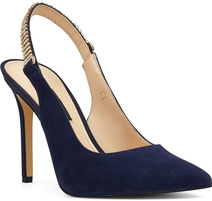 The classic slingback pump gets a glam update as this navy pointy-toe stiletto Tenza adorned by crystal mesh along the strap