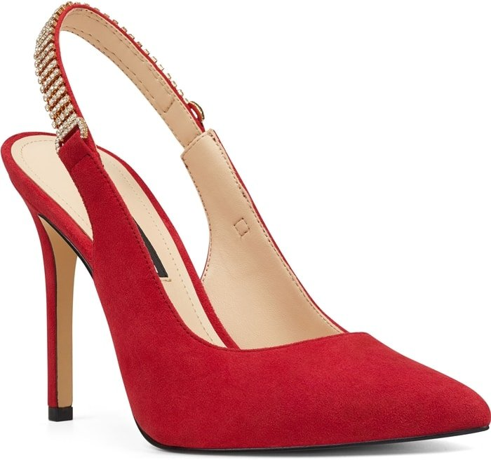 The classic slingback pump gets a glam update as this red pointy-toe stiletto Tenza adorned by crystal mesh along the strap