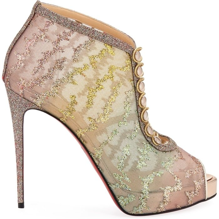 Christian Louboutin ombré mesh booties with glitter embroidery and leather trim