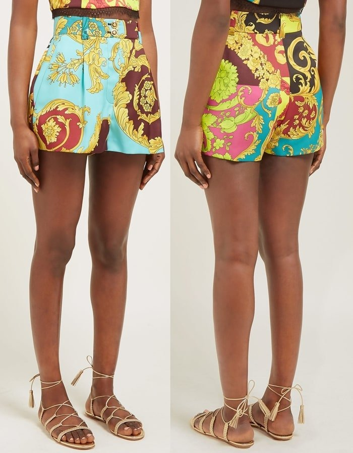 High-Rise Baroque-Print Twill Shorts