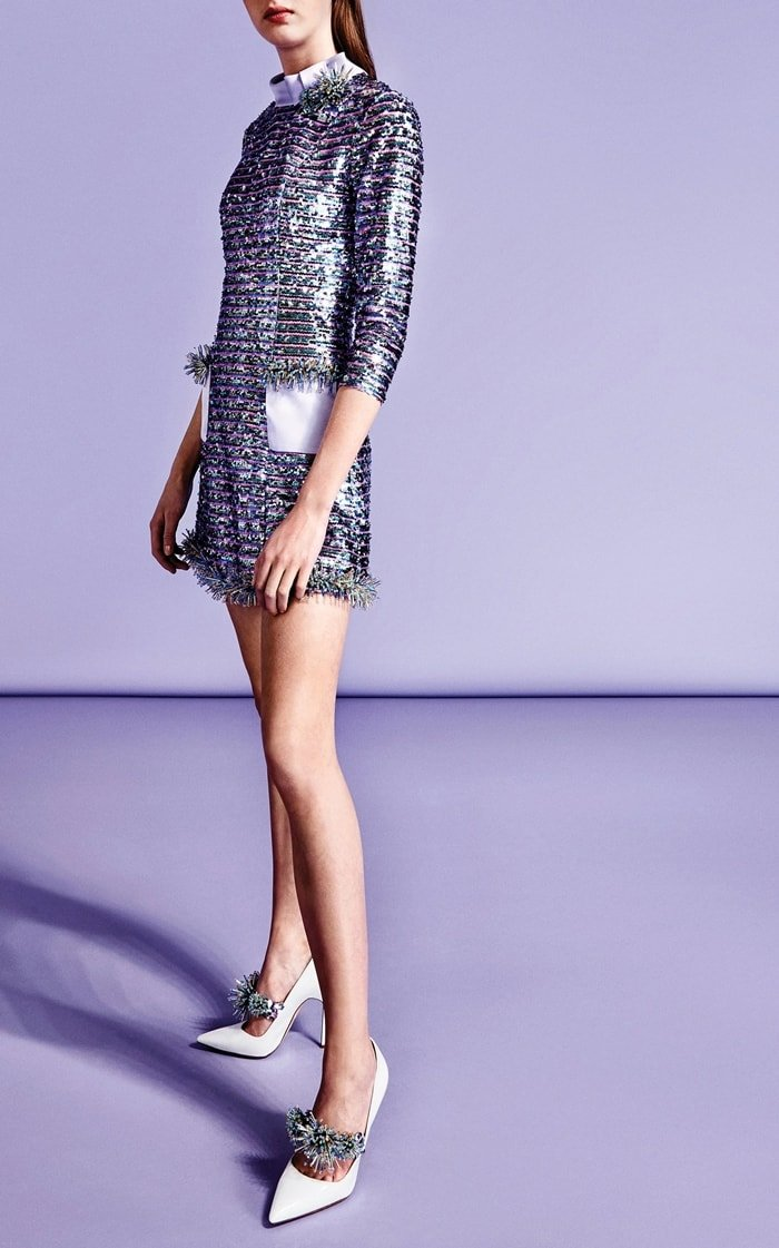 Viktor & Rolf Bow-Neck Sparkle Mini Dress