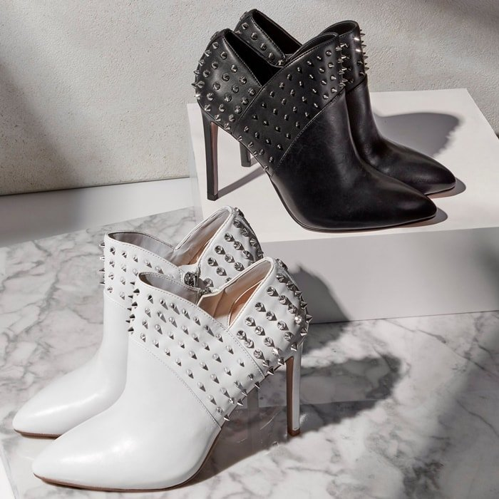 Sam Edelman adds daring appeal to the V-notch topline profile of the Wally booties with spiked studs and a sleek stiletto heel