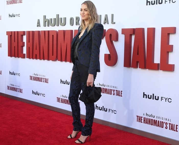 Yvonne Strahovski looked pretty in red at the season three finale screening of The Handmaid's Tale