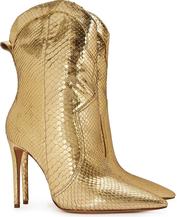 ALEXANDRE BIRMAN Esther 100 gold python-textured leather boots