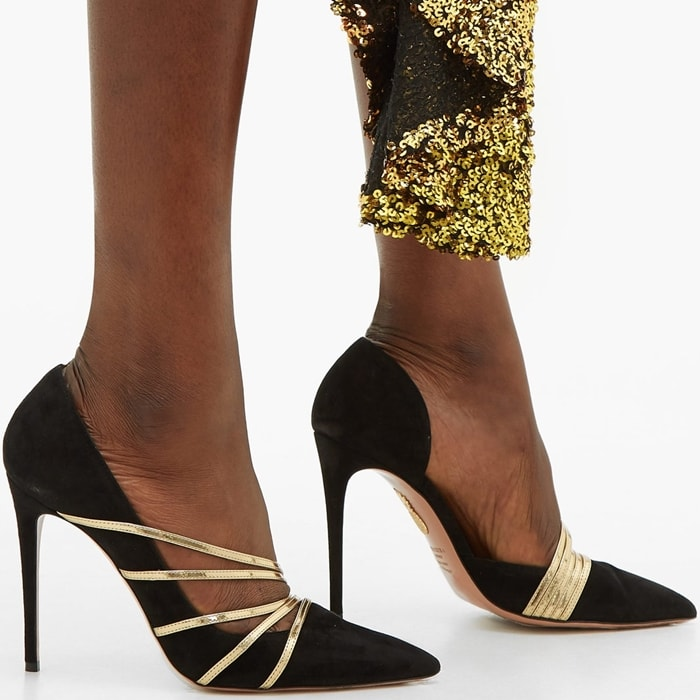 Aquazzura's 'Minou' pumps are trimmed with gold leather that glows gorgeously against the velvety black suede