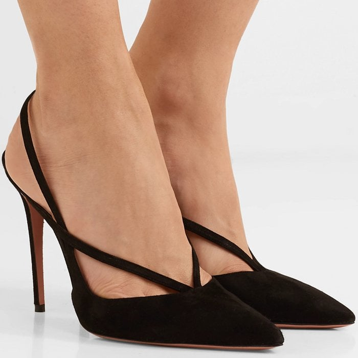 These slingback heels have slim straps strategically placed to create foot-framing cutouts and an elasticated slingback strap