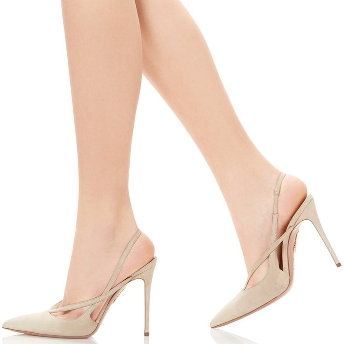 This nude pump features slim straps that criss cross at the side and a slingback to keep the foot in place