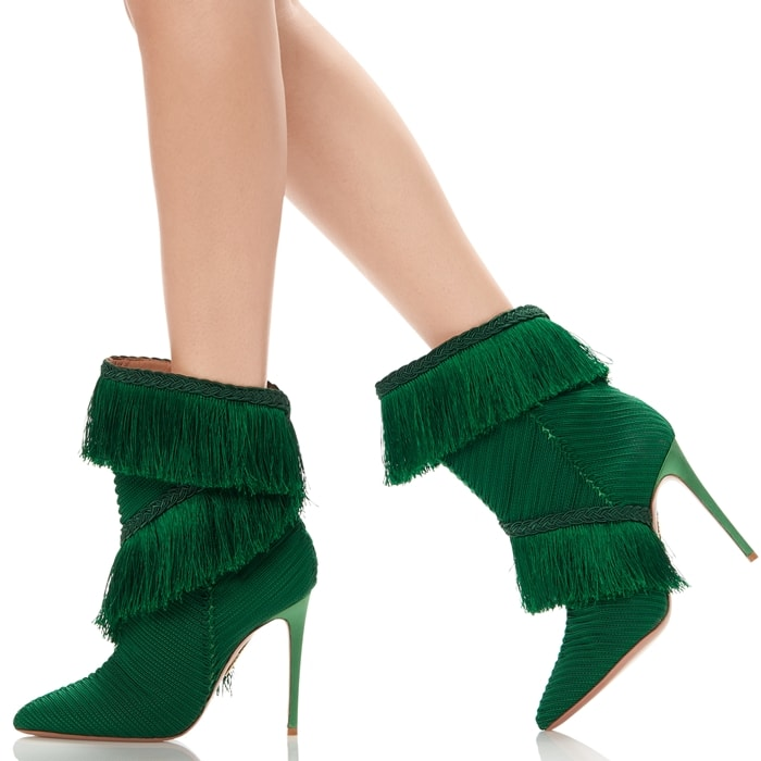 Aquazurra's emerald-green Soutage boots encapsulate the label's alluring approach to footwear