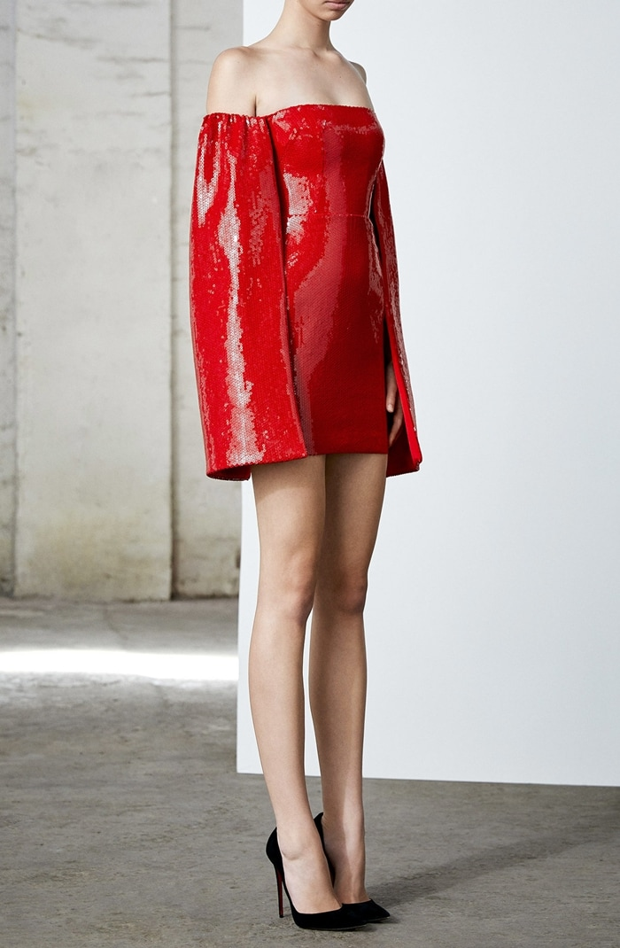 Alex Perry Maxen Sequined Off-The-Shoulder Cape Dress
