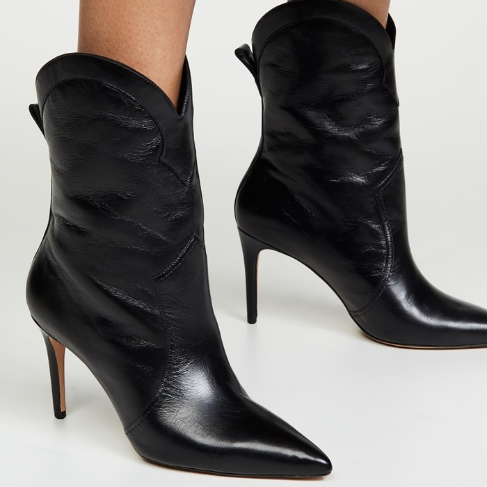 Black Alexandre Birman Esther Leather Pointed Boots