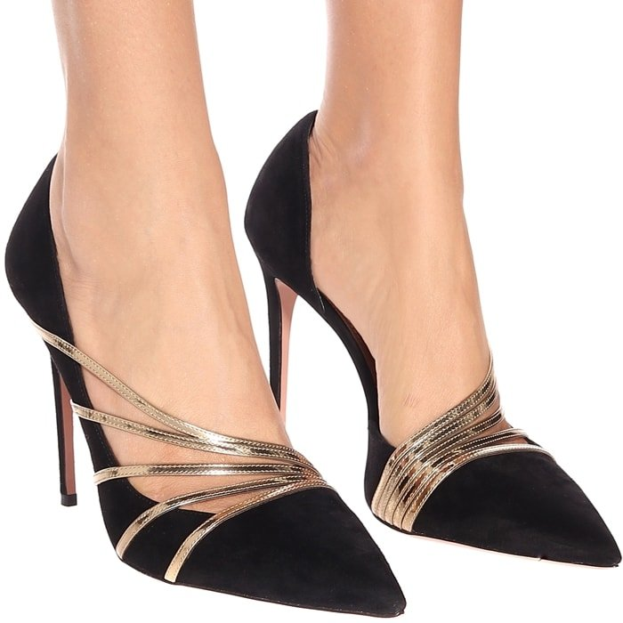 The Italian-made pair has been crafted from black suede with sleek pointed toes and pin-thin 105mm stiletto heels