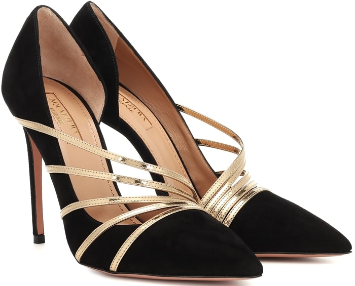 Made in Italy, this pair has a leg-lengthening point-toe, stiletto heel and d'Orsay cutout, while the straps curve elegantly across your feet