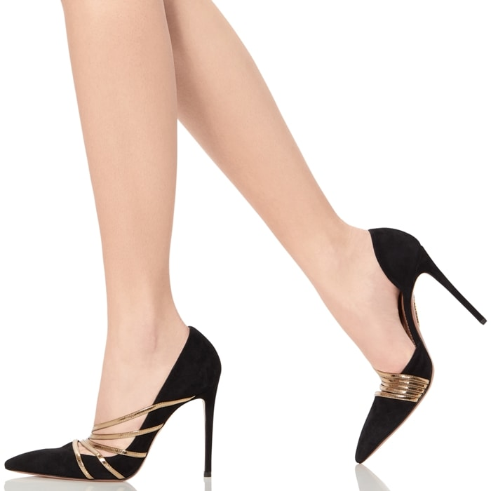 Golden bands fan out at one side of this chic pointy-toe pump, adding sun-ray radiance to the black suede look