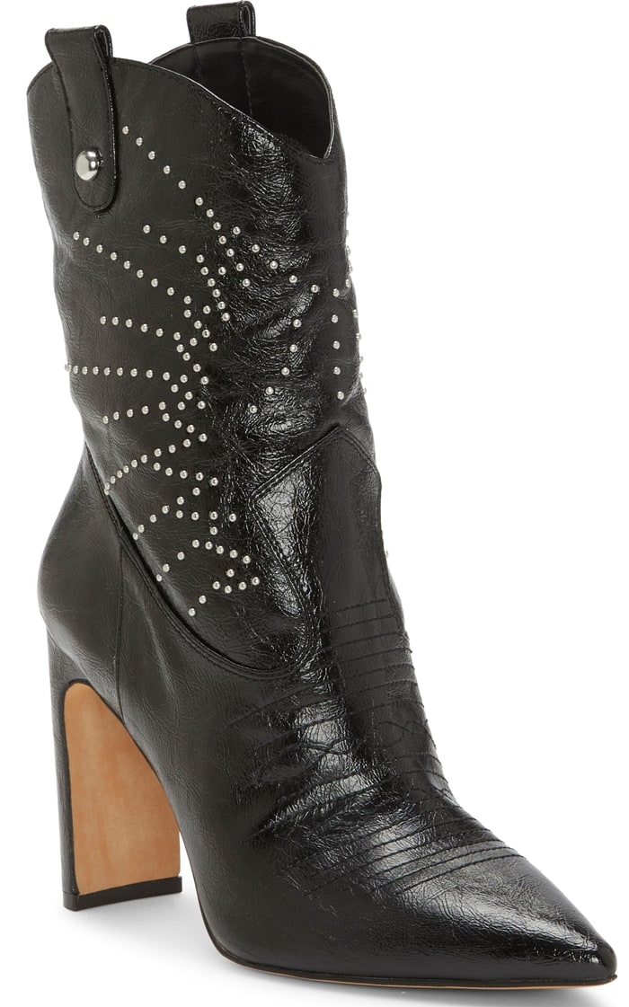 Polished studs gleam on an abbreviated black leather Western bootie that's a rustic yet refined style standout