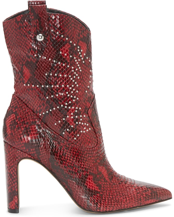 Polished studs gleam on an abbreviated Western bootie that's a rustic yet refined style standout