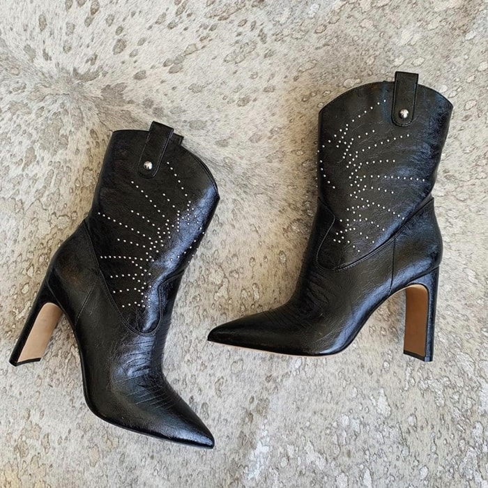 Polished studs gleam on an abbreviated Western Bazil bootie that's a rustic yet refined style standout