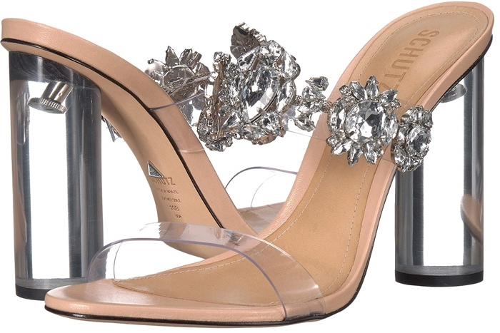 An of-the-moment style that feels sophisticated and a little sexy, these Blanck sandals are designed with transparent vinyl straps and accented with opulent crystals