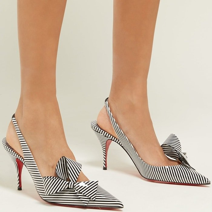 CHRISTIAN LOUBOUTIN Clare Nodo 80 striped leather slingback pumps