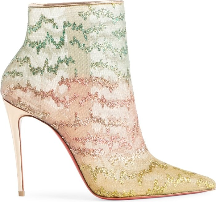 Zigzag designs dusted with twinkling glitter highlight a colorful mesh bootie finished with rose-gold leather accents, a towering stiletto and iconic red sole