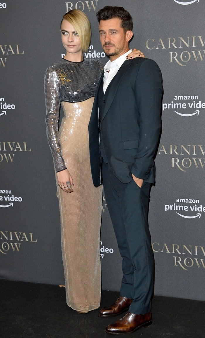 Cara Delevingne and Orlando Bloom looked stunning while posing together on the red carpet at the Carnival Row premiere in Berlin, Germany on August 26, 2019