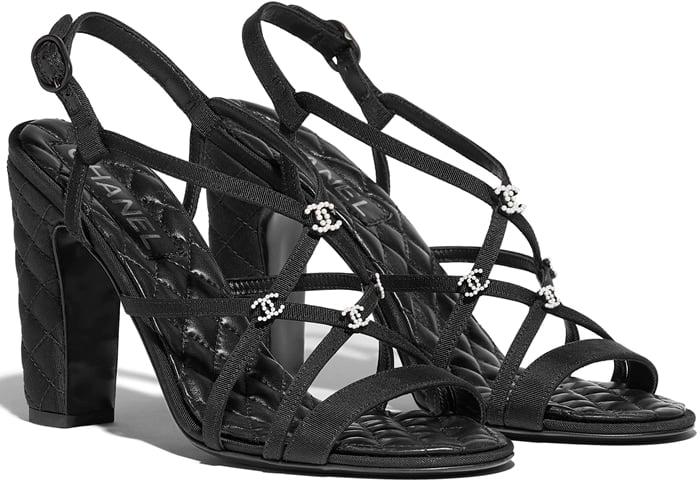 Black Chanel Black Grosgrain Sandals