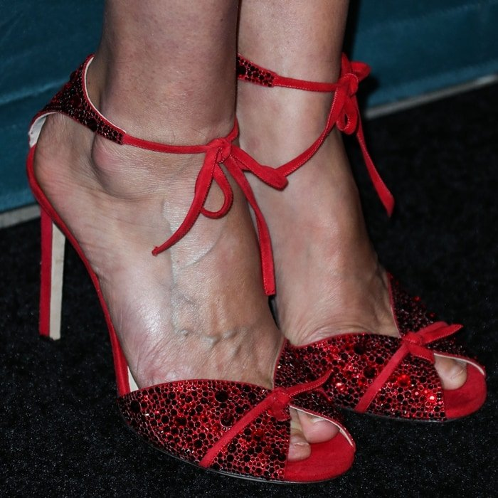 Cobie Smulders displayed her hot feet in crystal-embellished Talaya sandals from Jimmy Choo