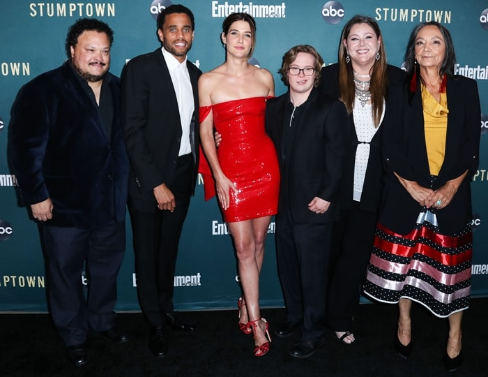 The cast of Stumptown: Adrian Martinez, Michael Ealy, Cobie Smulders, Cole Sibus, Camryn Manheim and Tantoo Cardinal