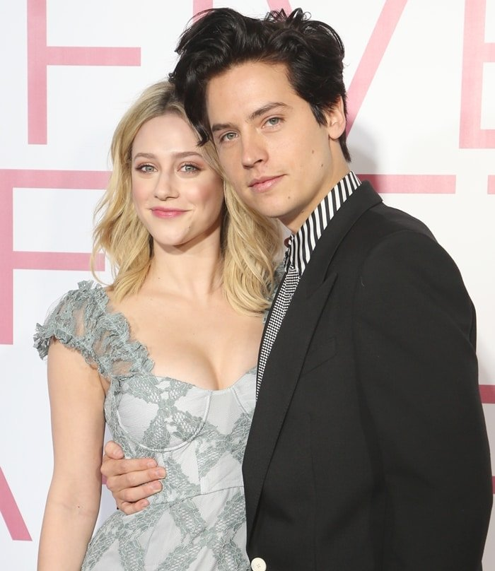 Cole Sprouse and girlfriend Lili Reinhart looking happy at the premiere of his movie Five Feet Apart