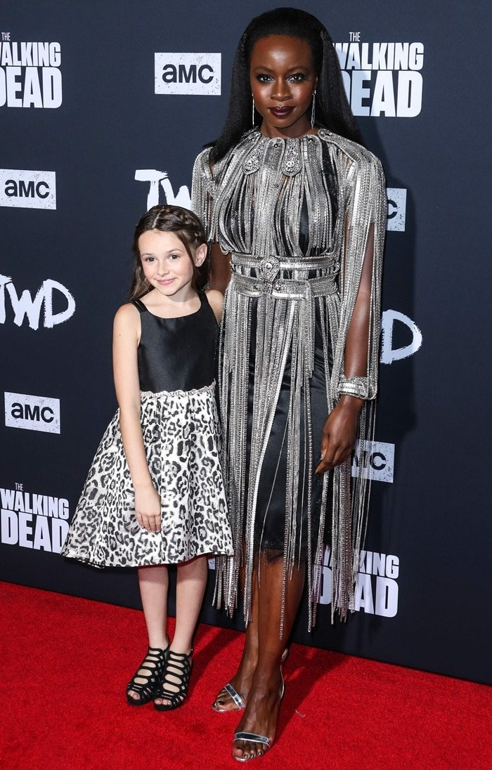 Cailey Fleming and Danai Gurira attend the Walking Dead Premiere and Party