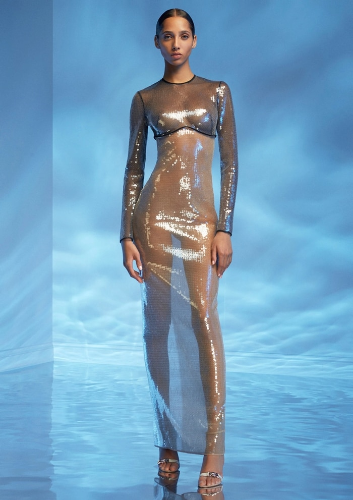 David Koma Sequined Cady Long-Sleeve Gown
