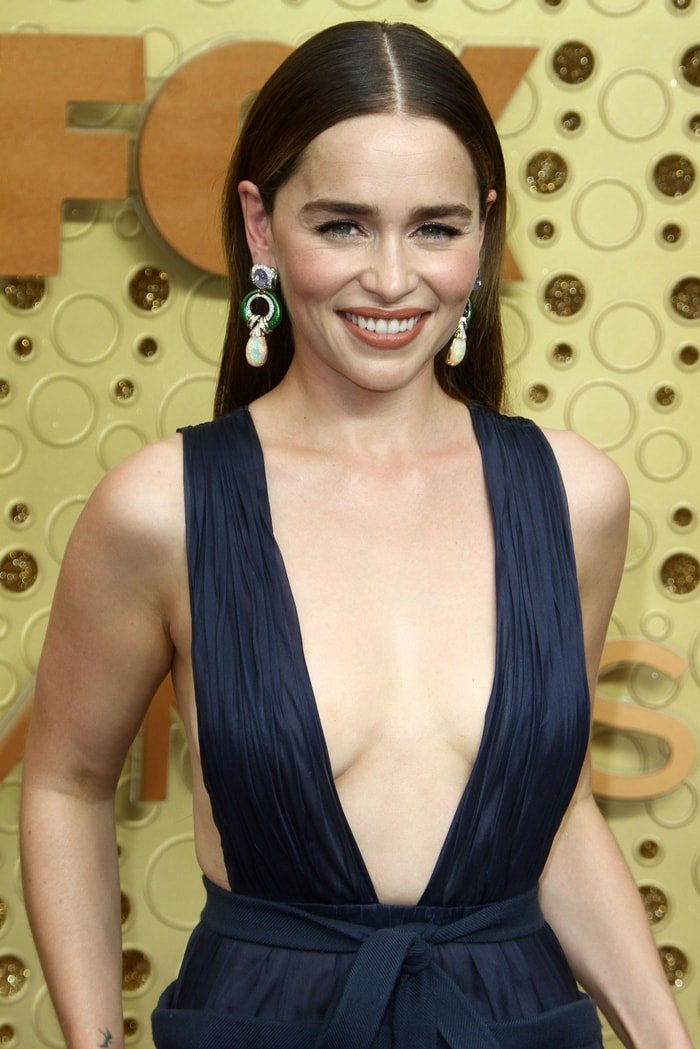 Emilia Clarke could have suffered a wardrobe malfunction in her plunging gown