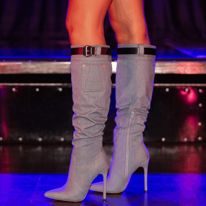 Erika Jayne's Denim Knee-High Boots