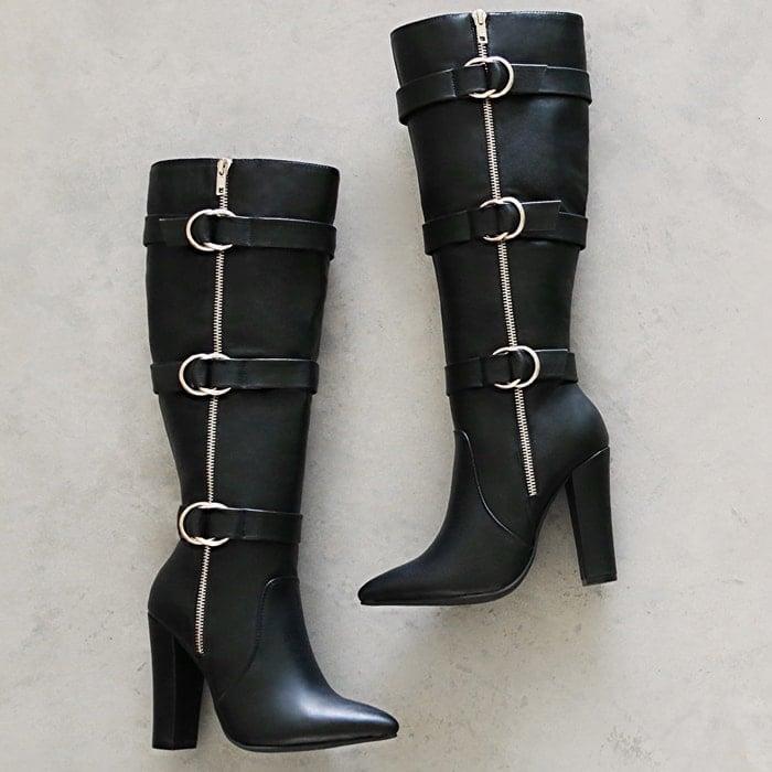 Estrella Buckled Heeled Boots