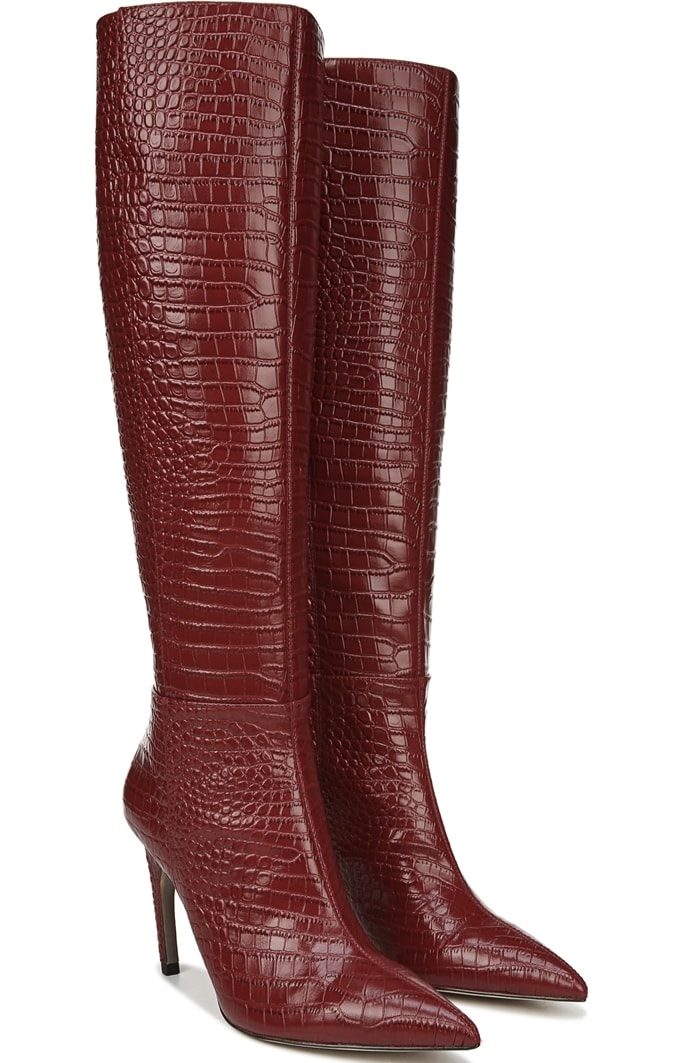 The perfect finish to those new-season styles, this spiced mahogany tall boot gets a refined look from a pointy toe and stiletto heel