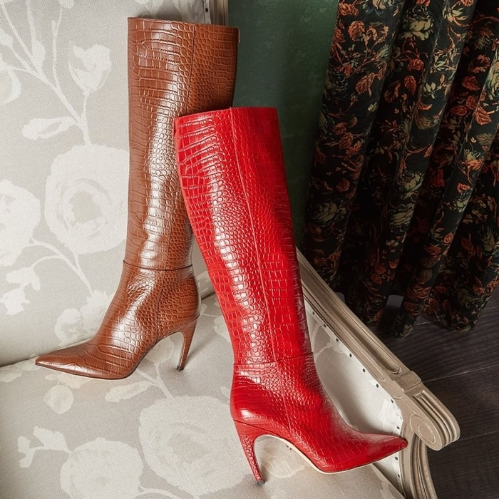The perfect finish to those new-season styles, this tall boot gets a refined look from a pointy toe and stiletto heel