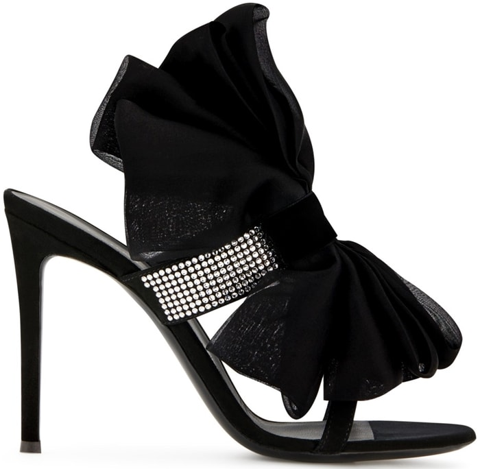 Amabel bow sandals with crystal embellishments, a clasp fastening, a leather sole, a brand embossed insole, a toe strap, an oversized organza bow motif and a slight round toe